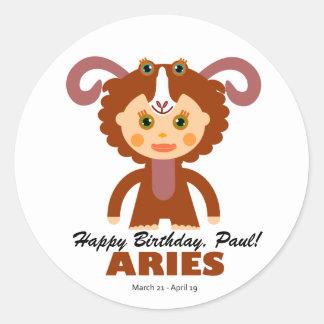Aries Zodiac for Kids Round Sticker