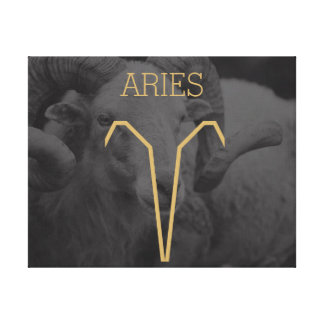 Aries Zodiac Sign | Custom Background + Text Canvas Print