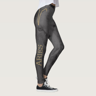 Aries Zodiac Sign | Custom Background + Text Leggings