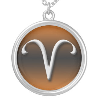 Aries Zodiac Sign Dark Gradient Orange Necklace
