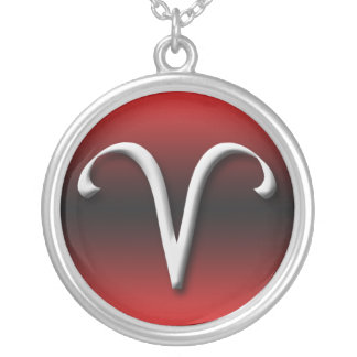 Aries Zodiac Sign Dark Gradient Red ~ Necklace