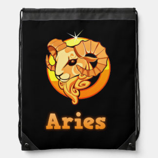 Aries zodiac sign drawstring bag