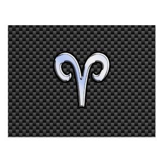 Aries Zodiac Sign on Charcoal Carbon Fiber Print Postcard