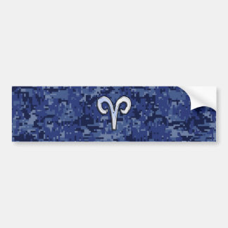 Aries Zodiac Sign on Navy Blue Digital Camo Decor Bumper Sticker