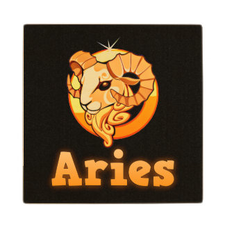 Aries zodiac sign wood coaster