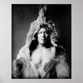 Arikara Indian, Bear's Belly, wearing bearskin Poster