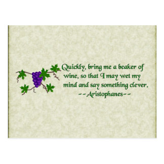 Aristophanes Wine Quote Postcard