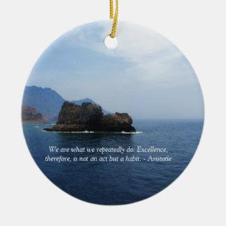 Aristotle Excellence Quotation Round Ceramic Decoration