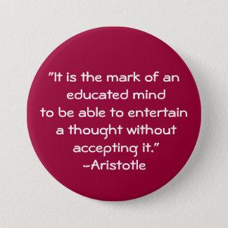 Aristotle-Wisdom Quote 7.5 Cm Round Badge