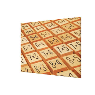 Arithmetic. Multiplication times table wooden Gallery Wrapped Canvas