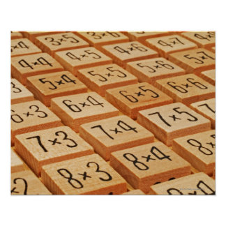 Arithmetic. Multiplication times table wooden Poster