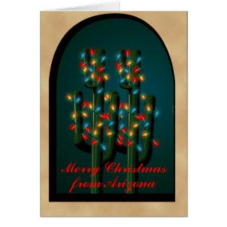 Arizona Adobe Christmas Cactus Tree Lights Card