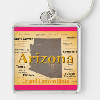 Arizona Aged Map Silver-Colored Square Key Ring