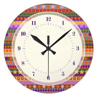 Arizona Aztec Desert Colors Southwest ZigZag Large Clock