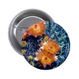 Arizona barrel cactus orange flower pinback button