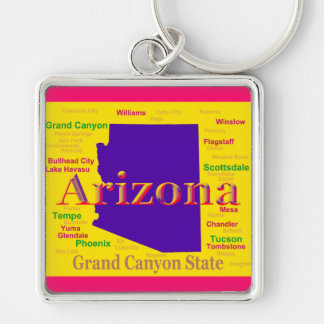 Arizona Colorful Map, Grand Canyon State Silver-Colored Square Key Ring