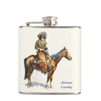 Arizona Cowboy Remington Fine Art Hip Flask