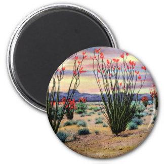 Arizona Desert Ocotillos in Bloom 6 Cm Round Magnet