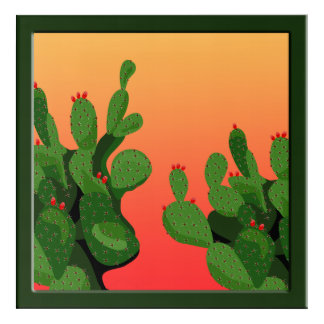 Arizona Desert Prickly Pear Wall Art Acrylic Sq
