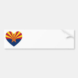Arizona Flag Heart Shape Car Bumper Sticker