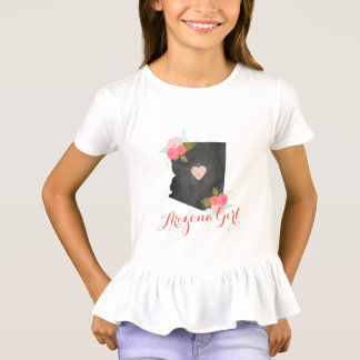Arizona Girl Watercolor Floral & Moveable Heart T-Shirt