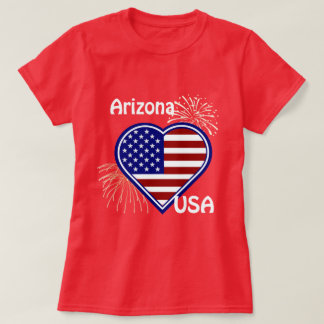 Arizona July 4th Fireworks Heart Flag Red  T-shirt