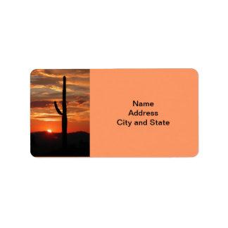 Arizona landscape sunset address label