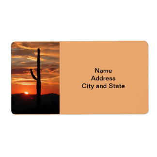 Arizona landscape sunset shipping label
