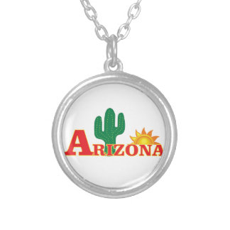 Arizona logo simple silver plated necklace
