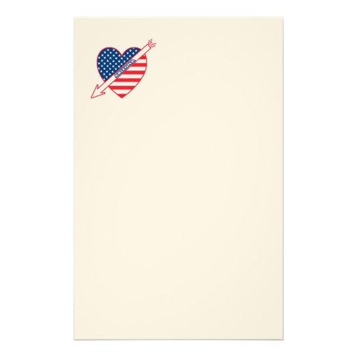 Arizona Patriot Flag Heart Custom Stationery