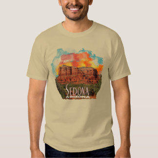 Arizona Red Rocks with Watercolor Sunset T-shirt