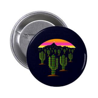 Arizona Saguaro Cactus Christmas Lights at Sunset Buttons
