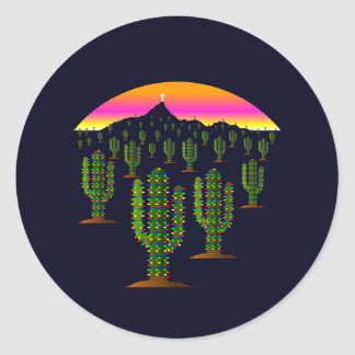 Arizona Saguaro Cactus Christmas Lights at Sunset Classic Round Sticker