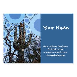 Arizona Saguaro Cactus Concentric Circle Mosaic Business Card Template