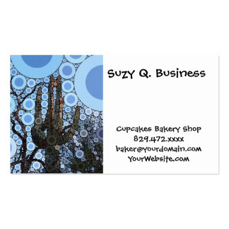 Arizona Saguaro Cactus Concentric Circle Mosaic Double-Sided Standard Business Cards (Pack Of 100)