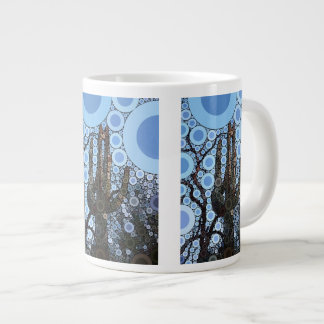 Arizona Saguaro Cactus Concentric Circle Mosaic Large Coffee Mug