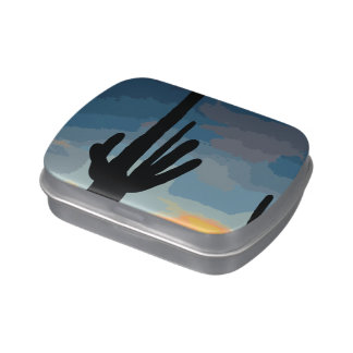 Arizona Saguaro Cactus Southwestern Sunset Candy Tins