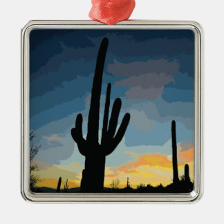 Arizona Saguaro Cactus Southwestern Sunset Silver-Colored Square Decoration