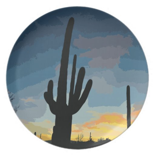 Arizona Saguaro Cactus Southwestern Sunset Dinner Plates