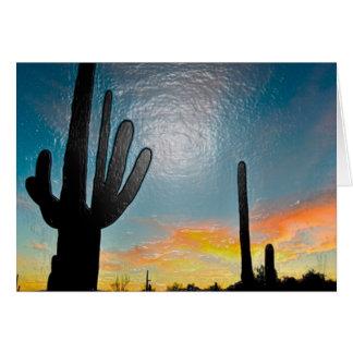 Arizona Saguaro Cactus  Sunset Plastic 3d Art Note Card