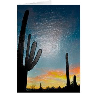 Arizona Saguaro Cactus  Sunset Plastic 3d Art Stationery Note Card