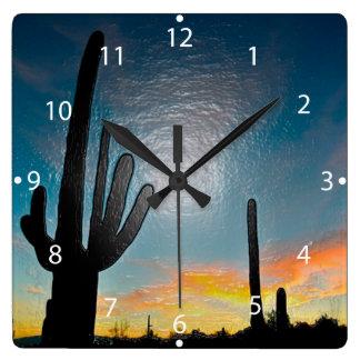 Arizona Saguaro Cactus  Sunset Plastic 3d Art Square Wall Clock