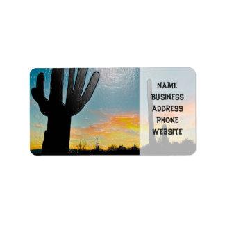 Arizona Saguaro Cactus  Sunset Plastic 3d Art Address Label