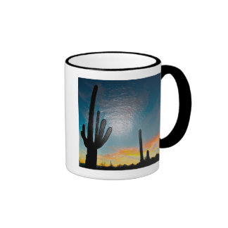 Arizona Saguaro Cactus  Sunset Plastic 3d Art Ringer Coffee Mug