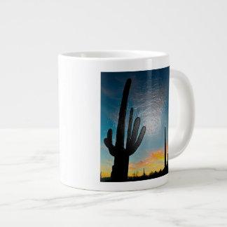 Arizona Saguaro Cactus  Sunset Plastic 3d Art 20 Oz Large Ceramic Coffee Mug