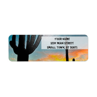 Arizona Saguaro Cactus  Sunset Plastic 3d Art Return Address Label