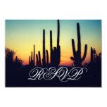 Arizona Saguaro Cactus Sunset Wedding RSVP Cards 9 Cm X 13 Cm Invitation Card