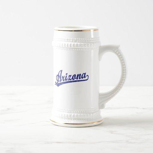 Arizona script logo in blue mugs
