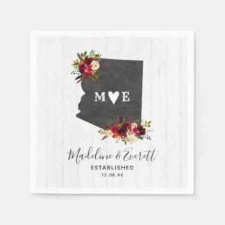 Arizona State Destination Rustic Wedding Monogram Paper Serviettes