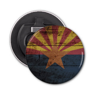 Arizona State Flag on Old Wood Grain Bottle Opener